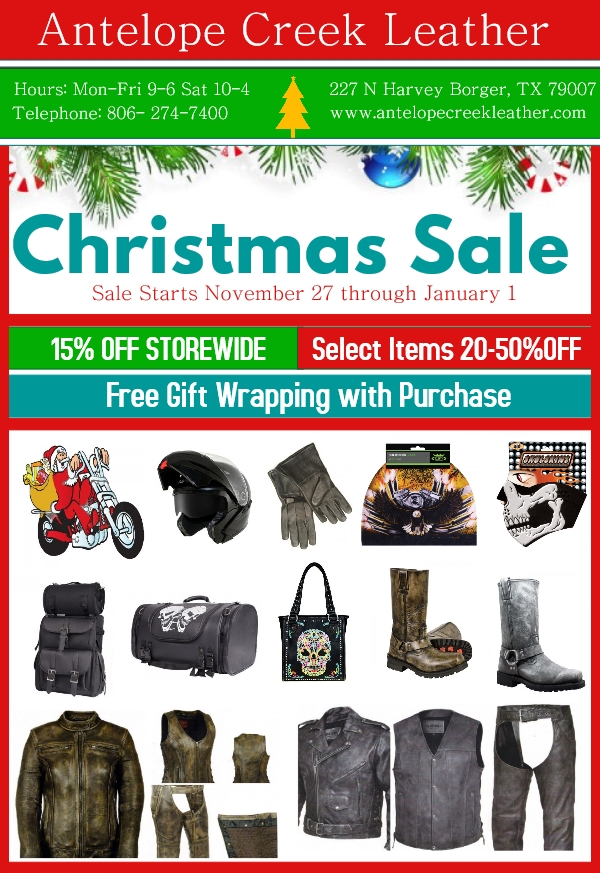 motorcycle gear christmas sales - biker apparel discounts and deals - leather clothing offers and deals for christmas
